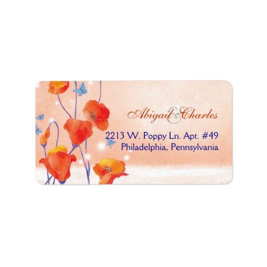 Étiquettes de adresse rouges de mariage de pavot