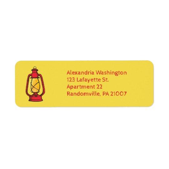 Étiquettes de adresse rouges de retour de lanterne