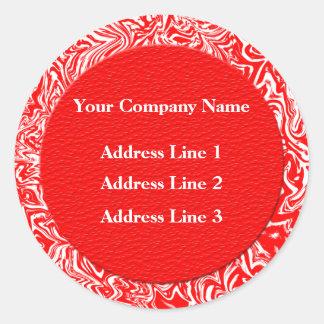 Étiquettes de adresse rouges et blancs d'affaires sticker rond