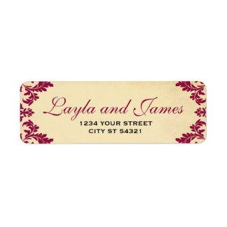 Étiquettes de adresse vintages de damassé de vin