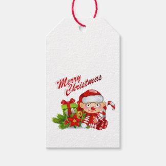 Étiquettes de cadeau d'aide de Père Noël