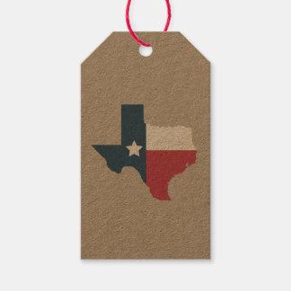 Étiquettes de cadeau de drapeau d'état du Texas