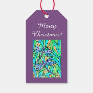 Étiquettes de cadeau de libellule en verre souillé