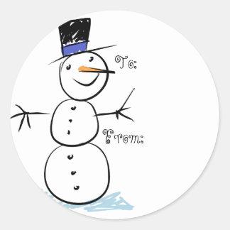 Étiquettes de cadeau de Noël de bonhomme de neige