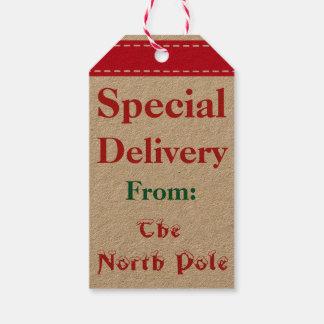 Étiquettes de cadeau de Noël de Père Noël de Pôle