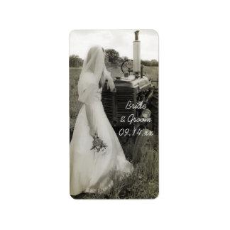 Étiquettes de faveur de mariage campagnard de