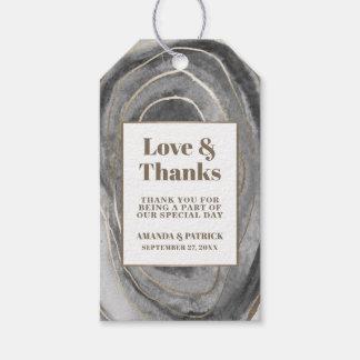 Étiquettes de faveur de mariage d'agate de pierre