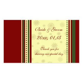Étiquettes de faveur de mariage d'hiver de flocons carte de visite standard