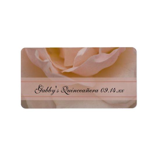 Étiquettes de faveur de Quinceañera de rose de