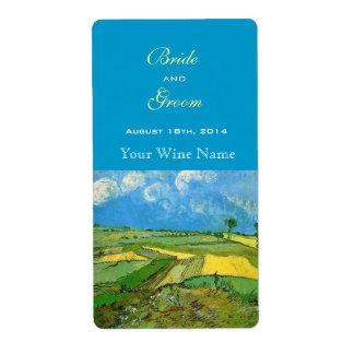 Étiquettes de vin de champs de blé