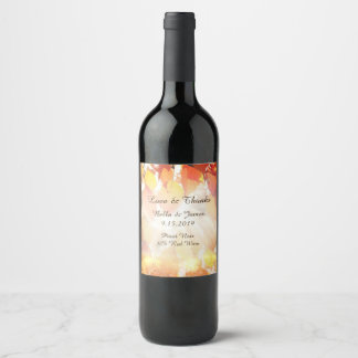 Étiquettes de vin de mariage de automne de feuille