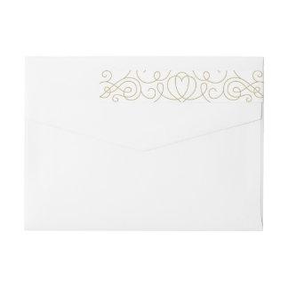 Étiquettes d'enveloppe de vacances de rouleau d'or