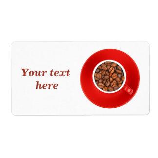 Étiquettes d'expédition avec les grains de café