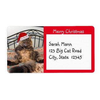 Étiquettes d'expédition de Joyeux Noël de chat de