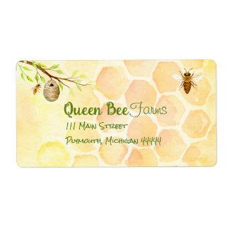 Étiquettes d'expédition de miel de rucher