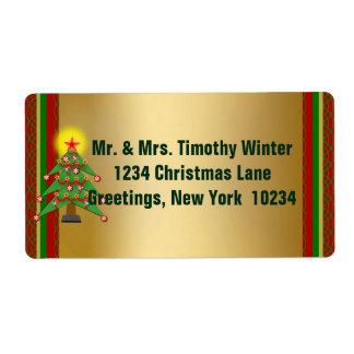 Étiquettes d'expédition élégants de Noël d'or