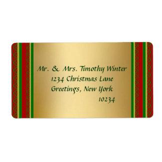 Étiquettes d'expédition élégants de Noël d'or Étiquette D'expédition