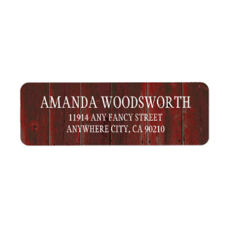 Étiquettes en bois de mariage de grange rouge