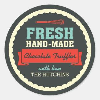 Étiquettes faits main vintages de cadeau sticker rond