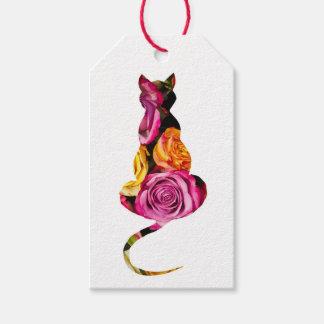 Étiquettes florales de cadeau de chat
