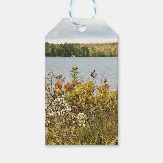 Étiquettes florales de cadeau de paysage d'automne