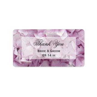 Étiquettes florales de faveur de Merci d'hortensia