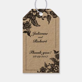 Étiquettes florales rustiques de cadeau de faveur