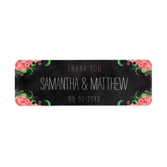 Étiquettes floraux de faveur de mariage de tableau