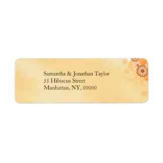 Étiquettes floraux de mariage de ketmie ene ivoire
