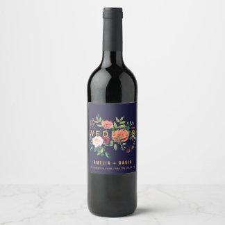 Étiquettes floraux de vin de mariage d'automne