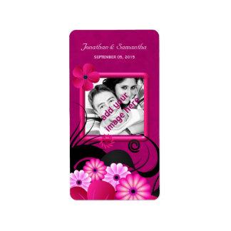 Étiquettes floraux fuchsia foncés de faveur de étiquette d'adresse
