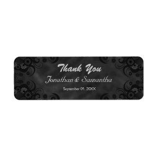 Étiquettes floraux noirs de faveur de mariage de