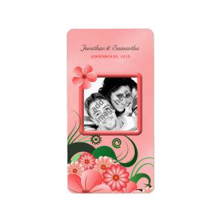 Étiquettes floraux roses de faveur de photo de