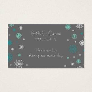 Étiquettes grises de faveur de mariage d'hiver de cartes de visite