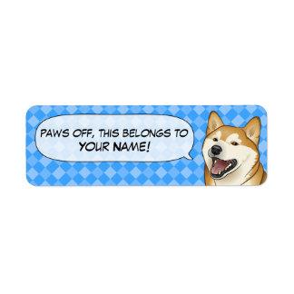 Étiquettes japonais rouges heureux de nom de chien