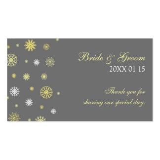 Étiquettes jaunes grises de faveur de mariage carte de visite standard