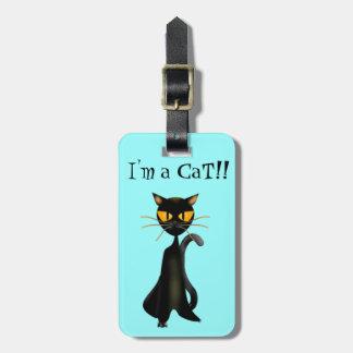 Étiquettes mignonnes de Luggagge de chat noir Étiquettes Bagages