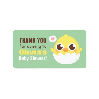 Étiquettes mignons de baby shower de poussin de