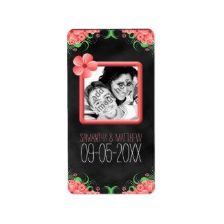 Étiquettes noirs floraux roses de photo de mariage étiquette d'adresse