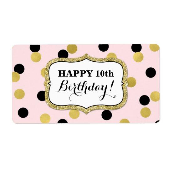 Étiquettes noirs roses d'anniversaire de confettis