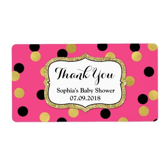 Étiquettes noirs roses de baby shower de confettis