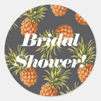 Étiquettes nuptiales de douche d'ananas