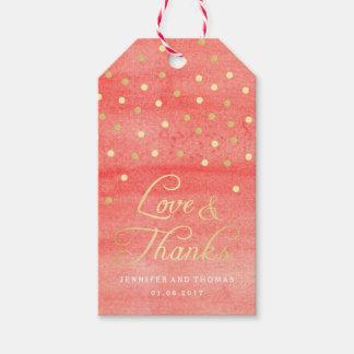 Étiquettes roses de faveur de mariage de texture