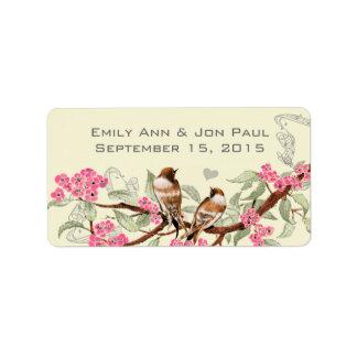 Étiquettes roses de fleurs de cerisier d'oiseaux