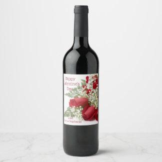 Étiquettes roses de vin de bouquet de