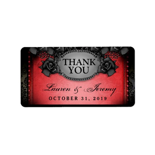 Étiquettes rouges et noirs de Merci de mariage de
