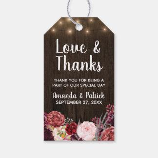 Étiquettes rustiques de Merci de mariage de