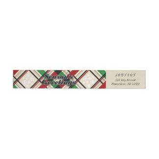 Étiquettes verts rouges de rayures de plaid de