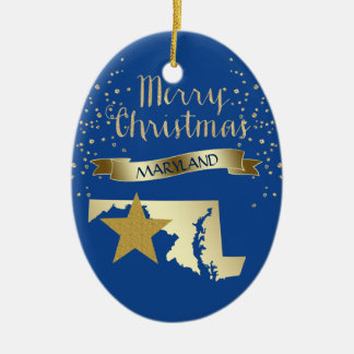Étoile bleue du Maryland d'or Ornement Ovale En Céramique