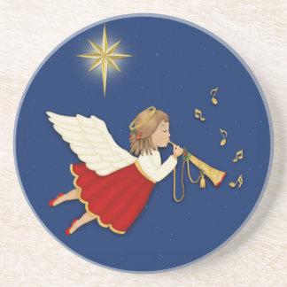 Étoile d'ange et de Noël de trompette Dessous De Verre En Grès